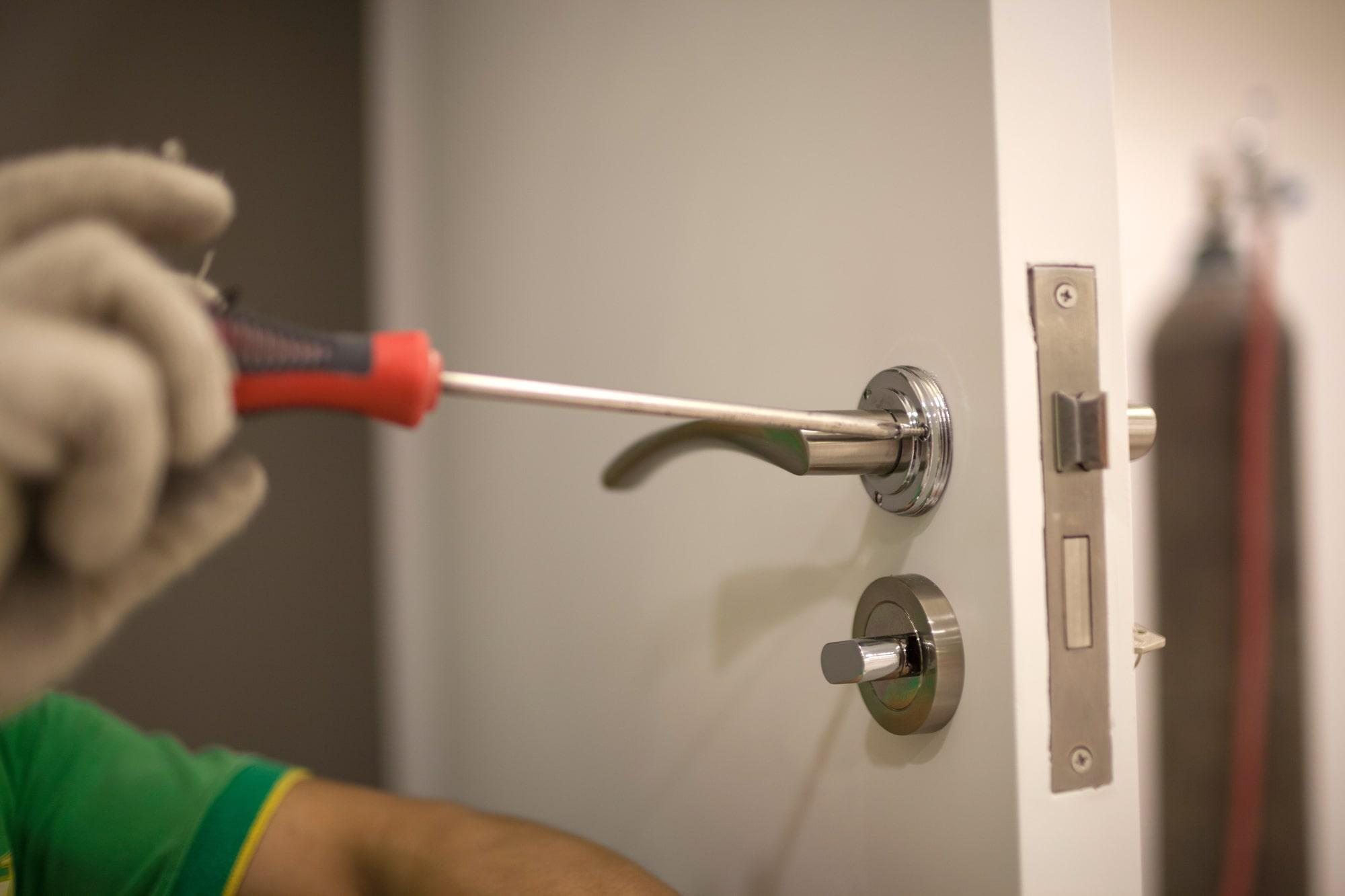 workers installing locks